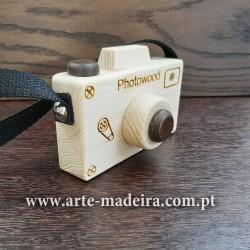 Máquina fotográfica brinquedo de madeira