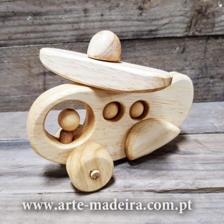 Helicoptero brinquedo de madeira