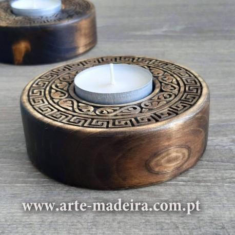 Porta-velas de madeira