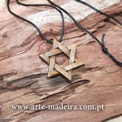 Estrela Davi colar de madeira artesanal