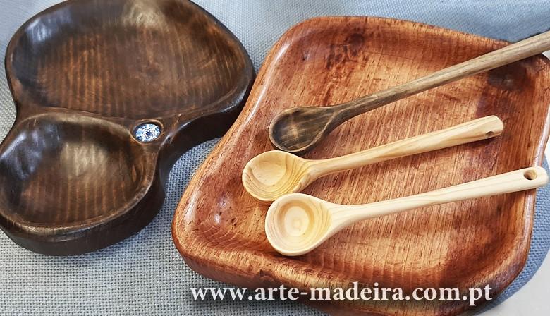 Louça de madeira artesanal feita a mão
